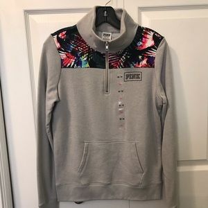 NWT Gray Quarter zip with Bright Print Detail